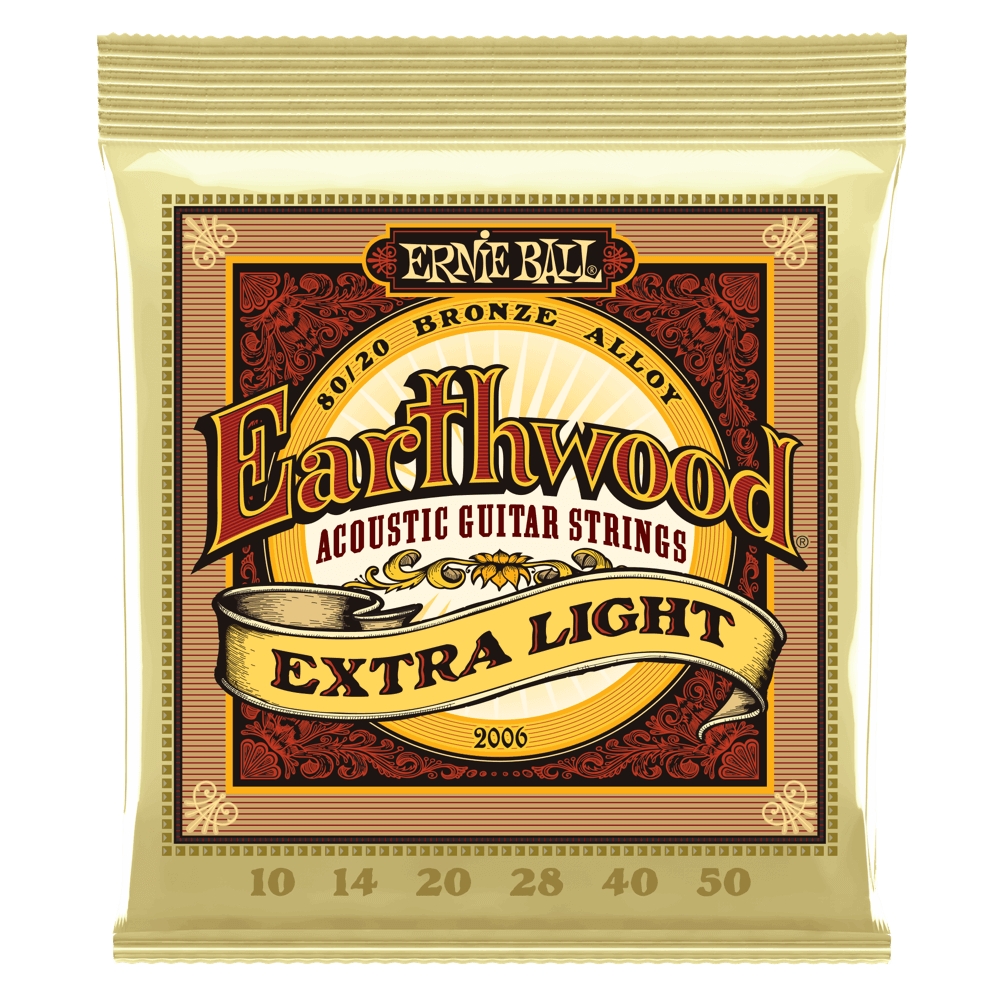 EARTHWOOD EXTRA LIGHT 80/20 BRONZE ACOUSTIC GUITAR STRINGS - 10-50 GAUGE