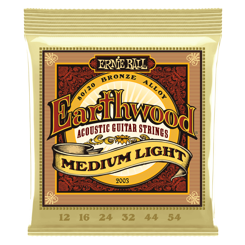 EARTHWOOD MEDIUM LIGHT 80/20 BRONZE ACOUSTIC GUITAR STRINGS - 12-54 GAUGE