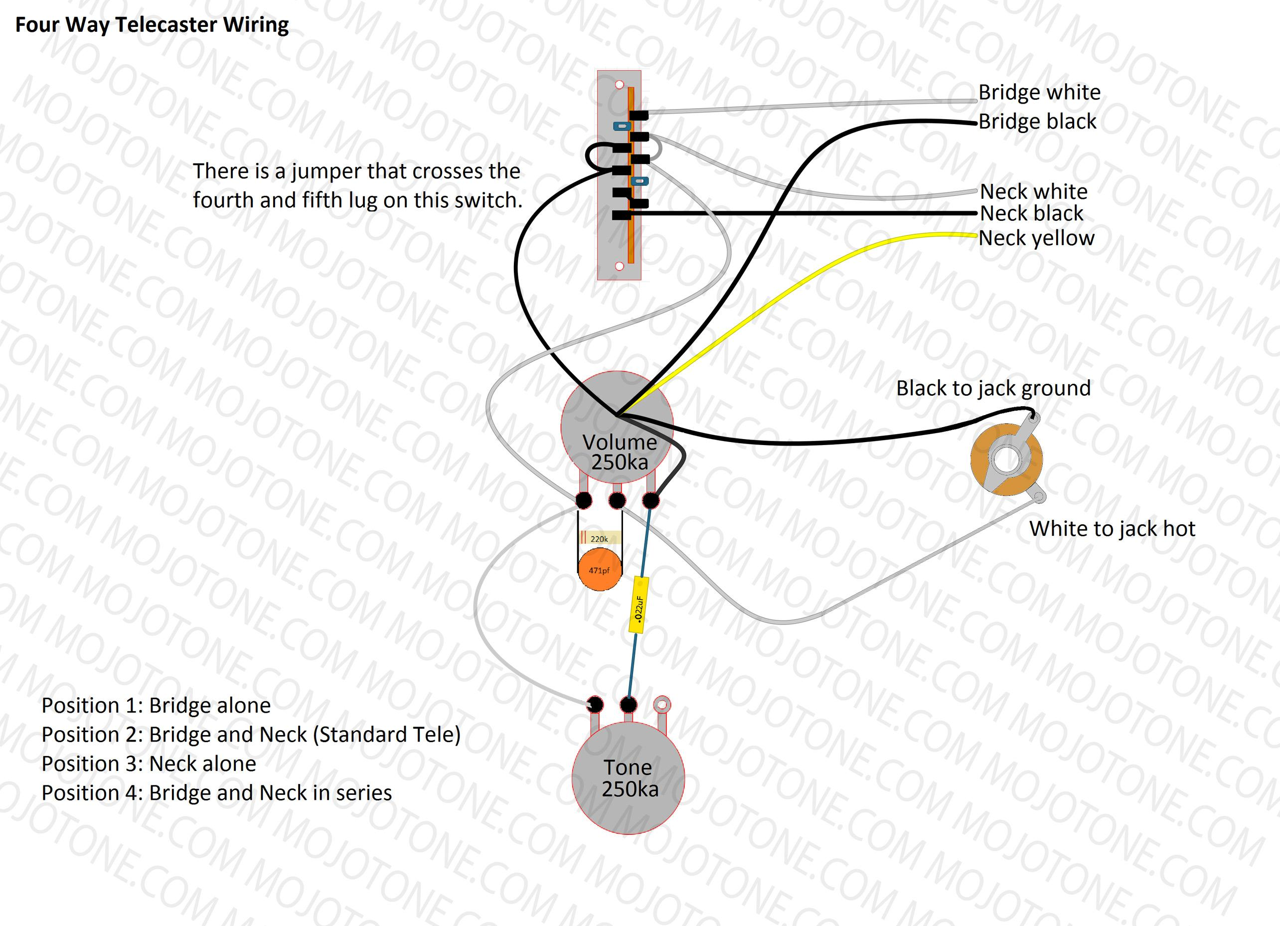 Telecaster Four Way Wiring Diagram on fender bass wiring diagram, fender stratocaster wiring, fender tele bass, fender tele deluxe, fender tele jr, fender esquire wiring-diagram, fender n3 wiring diagram, fender stratocaster parts diagram, fender mustang wiring diagram, fender standard wiring diagrams, fender tbx wiring diagram, fender lace sensor wiring diagram, fender squier wiring diagrams, fender broadcaster wiring diagram, fender tele specs, fender tele body, fender 5-way switch diagram, fender humbucker wiring diagrams, fender pickup wiring, fender la cabronita wiring-diagram,