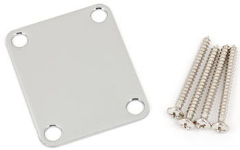 Fender Vintage Style Plain Neck Plate with Screws Chrome