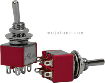 Mojo Switches » DPDT Mini Toggle Switch On-On-On